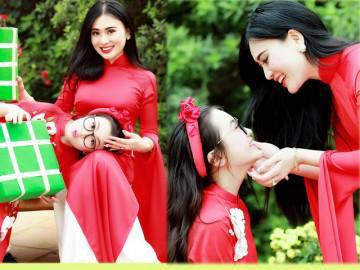Đã U40, mẹ của sao nhí Bảo Hân trẻ trung bất ngờ khi diện áo dài đôi với con gái