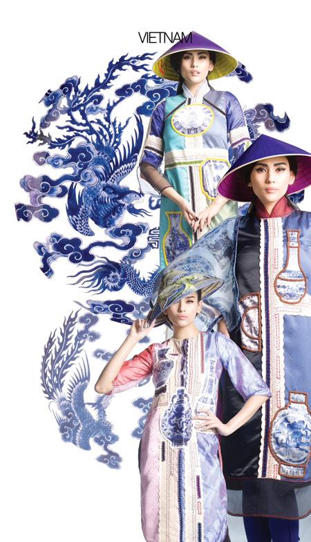 Hoàng Yến làm mẫu áo dài cho Festival Huế 2014.
